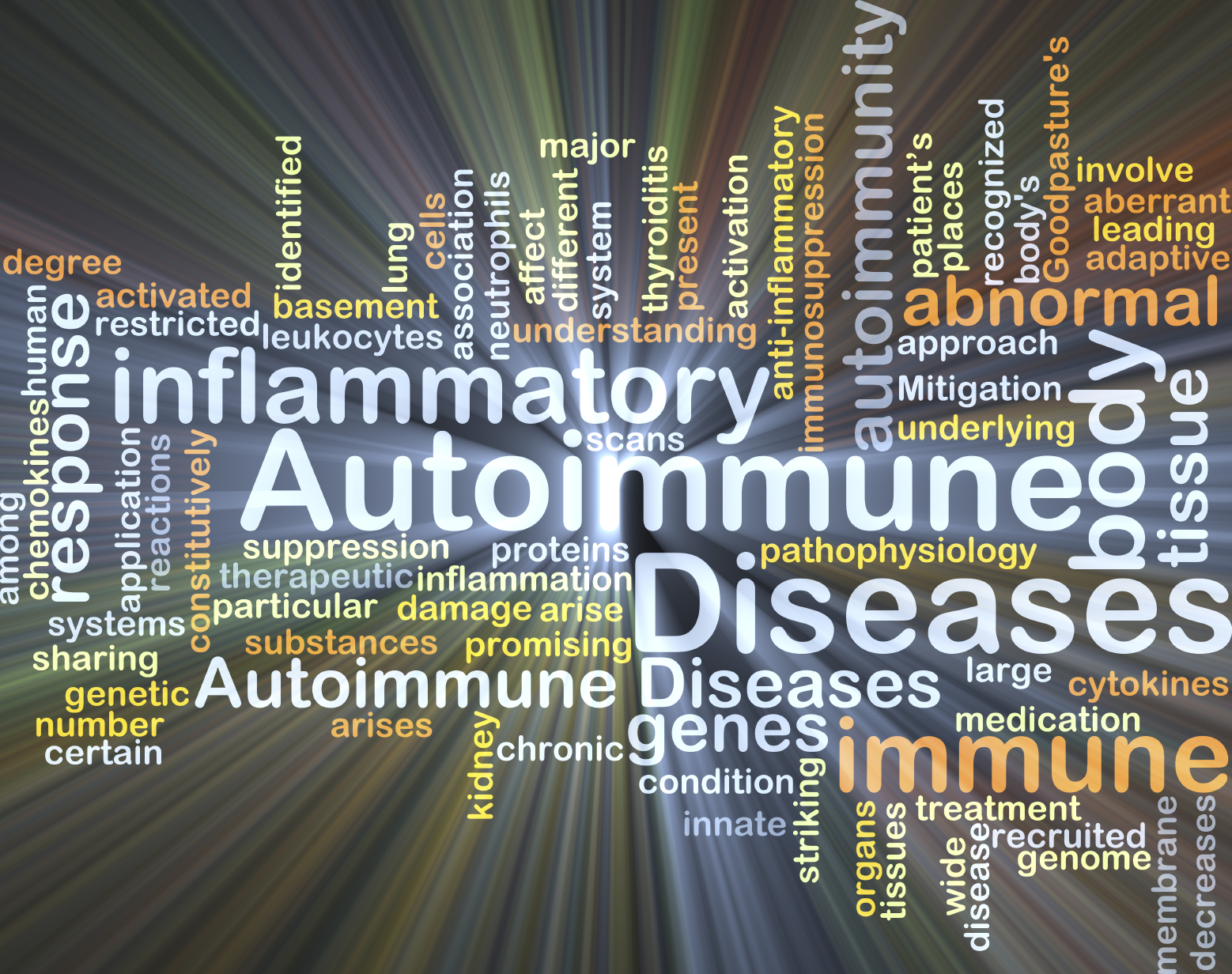 Background concept wordcloud illustration of autoimmune disease glowing light